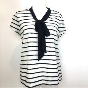 Elle Ivory Black Striped Bow Top large